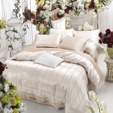 White Lace King Queen Size Bedding set  European Korea style Bed set Silk Cotton Jacquard  Wedding Bedclothes Duvet cover set