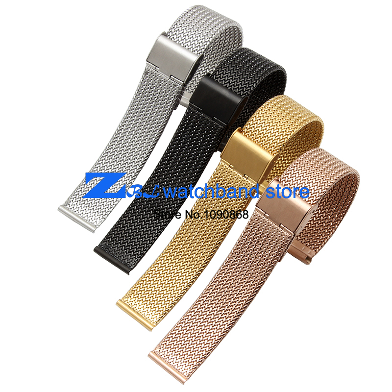 Milan Stainless Steel Mesh  Strap Bracelets 16mm 18mm 20mm 22mm 24mm ultra-thin Woven Watch Band metal watchband<br><br>Aliexpress