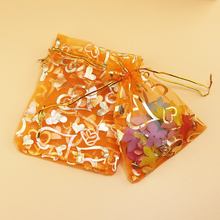 Big 20x30cm Bronzing Organza Heart Orange Packaging Bags For Jewelry Wedding Voile Gift Bag Decoration Gift Candy Bags 100pcs(China)