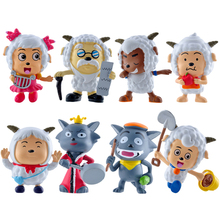 New hot sale 8pcs/set chinese anime figure PVC toys Pleasant goat and grey wolf 6CM Collectible Kids Toys Gifts free shipping