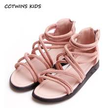 CCTWINS KIDS 2017 Summer Beach High top Pump Baby Girl Pu Leather Children Black Kid Fashion Flat Toddler Pink Sandal B699