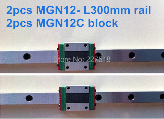 2pcs MGN12  L300mm linear rail  + 2pcs MGN12C <br>