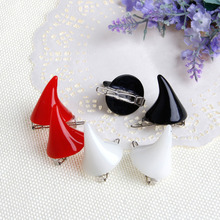 2Pcs Women Chic Halloween Stereo Devil Horns Ears Clip Hairpin Hair barrettes