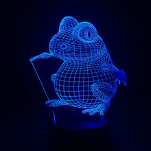 Cute Frog Led lamps 7 Colors Changing night owl Night Light Lamps 3D Touch Night Light
