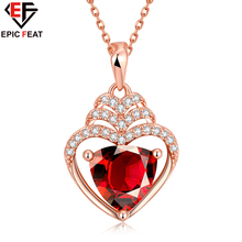 EPICFEAT Luxury Red Crystal Heart Pendant Necklace Rose Golden Plated Zircon Choker Chain for Women Girls Fashion Jewelry N079-B