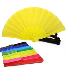 Portable Chinese Folding Fan Plain Hand Held Fabric Summer Pocket Fan Wedding Party