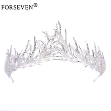 Buy Trendy Silver Crystal Wedding Queen Crown Hair Jewelry Plated Rhinestones Tiaras Hairwear Women Bride Wedding Accessories for $7.63 in AliExpress store