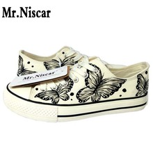 Mr.Niscar Ink Butterfly Woman Canvas Shoes Lace-Up Female Fashion Black White Lace Flat Shoes Summer Women Flats Breathable