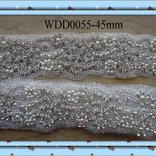 (10 yards) Wholesale iron on bridal beaded rhinestone pearl applique trim for wedding evening dress sash WDD0055(China)