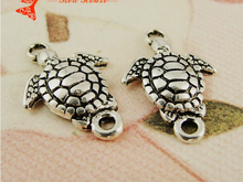 13*19MM Handmade DIY nautical jewelry items bulk tibetan silver trumpet turtle links connector charms, vintage turtoise pendants