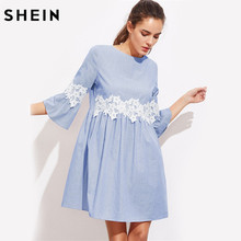 SHEIN Floral Lace Applique Fluted Sleeve Striped Smock Dress Womens Blue Three Quarter Length Sleeve A Line Dress(China)