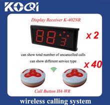 Free shipping 433.92mhz Electronic Ordering Call Waiter Service 40pcs of 4-key button & 2pcs of number display K-402NR