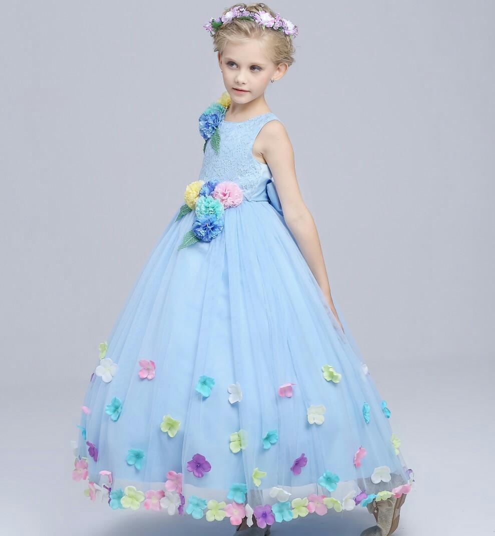 2016 Summer Foreign Trade Flower Girl Wedding Dress High Archives Full Dress Lace Flower Longuette Girl Princess Dress<br>