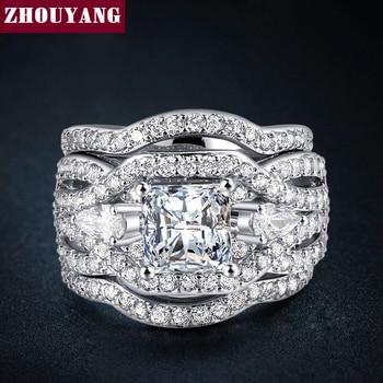 Clássico Marquise forma CZ 3 Conjuntos de Anéis WhiteGold E Amarelo Banhado A Ouro Jóia Do Casamento Para As Mulheres Do Partido Presente ZYR643 ZYR711
