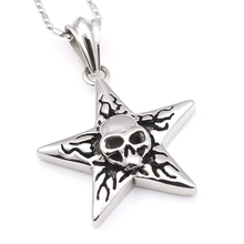 GOKADIMA gothic punk skull star pendant necklace,cool casting style high quality for men,jewelry acessory WP933