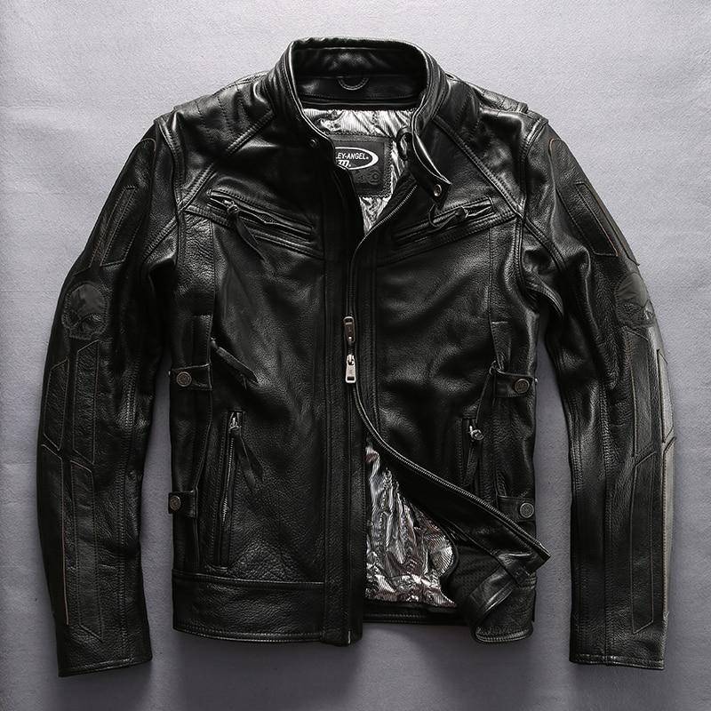 Harley style Reflective skulls motorcycle leather jacket men cotton liner moto biker coat men winter leather coat male 2017