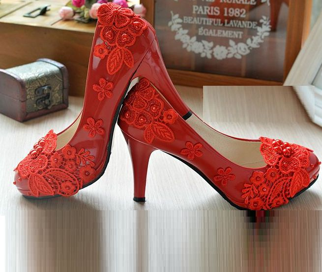 High heels sexy lace red pumps shoes for women PR1845 100% elegant and delicate lace pearls flower design heeled pumps womens<br><br>Aliexpress