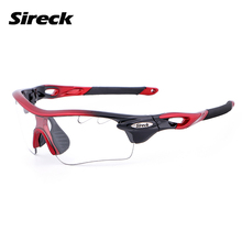 Sireck Photochromic Cycling Glasses UV400 Polarized Sport Sunglasses 2 Lens Unisex Bike Glasses Black Red Cycling Eyewear(China)