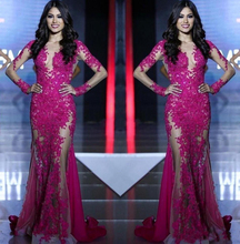 2017 New Miss World Evening Dresses Long Sleeves Lace Appliques Mermaid Fuchsia Custom See Through Sweep Train Formal Prom Dress