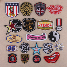 Free shipping 20pcs/lot mixed embroidered logo patch appliques iron on patch Badge Clothes Patches