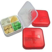 New Convenient Empty Medicine Storage Casual Home Using Cross 4 Cells Pill Cases Home Using Mini Pill Splitters(China)