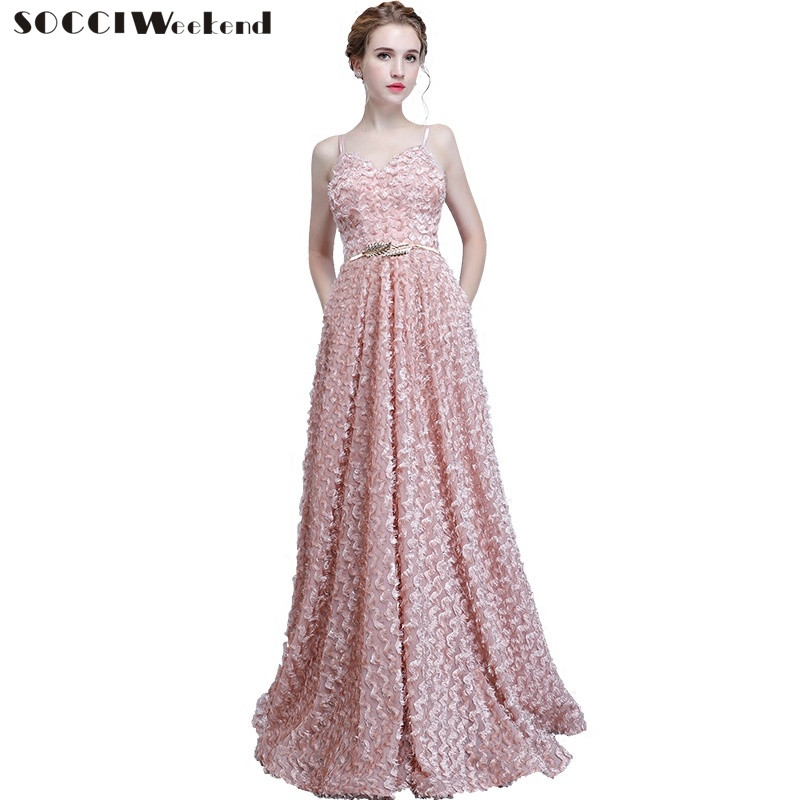 SOCCI Weekend Banquet Evening Dress Women New Sexy Long  Backless A Line Floor Length Formal Prom Party Dresses Robe de Soiree
