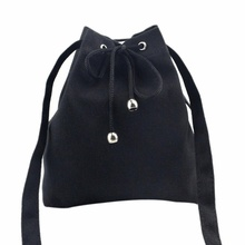 Women Fashion Canvas Drawstring Shoulder Bag Large Tote Ladies Purse solid casual string school backpack for girls mochila