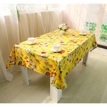 DUNXDECO Vintage Fashion Yellow Black Flora Plants Birds ElegentCotton Table Cloth Home Store Party Table Kitchen Cover Decor