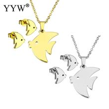YYW New Small Lovely Gold-color Stainless Steel Jewelry Sets Fish Animal Stud Earring Oval Chain Choker Pendant Necklace Woman
