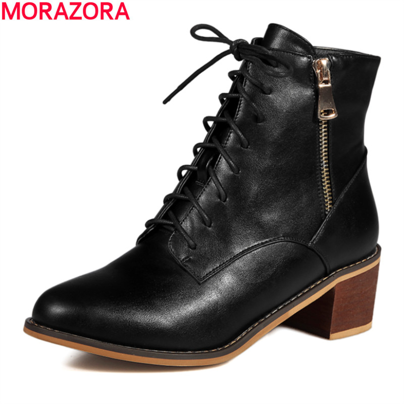 MORAZORA Autumn 2017 high quality fashion lace up ankle boots med heel round toe pu soft leather shoes woman<br>