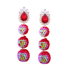 Europe and the United States personality temperament wild shiny alloy rhinestone sequined ball earrings for women(China)