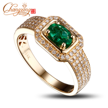 14k Yellow Gold Natural Emerald Diamond Mens Ring Promotion New Design(China)