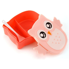 Cute Cartoon Lunch Food Containers Food Contain Bento Boxes Owl Plastic Lunch Storage Box Oven Heating For Kids(China)