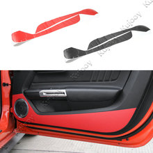 Pair Red Black Carbon Fiber Door Anti Kick Sticker Guard Trim For Ford Mustang 2015 2016 Car Styling Interior Accessories(China)