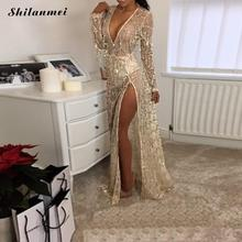 Buy Evening Party Club Elegant Dress Deep V Women Dress Vestidos De Festa Womens Sexy Dresses Gold Sequined Long Evening Maxi Dress for $24.69 in AliExpress store