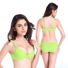2016 New Sexy Bra Briefs Set Gathering Cups Push up A B cups T-shirt Padded bra Smooth Seamless Lingerie Women Underwear H116(China)