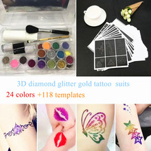24 Colors Powder Temporary Shimmer Glitter Tattoo Kit For Makeup Body Art Design Diamond Paint With Henna Stencil Glue & Brushes