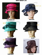 FREE SHIPPING BY EMS. Simple Sinamay Church Dress Hat Formal Hat Wedding Hat  for Kentucky Derby,Church,Party.can pick the color
