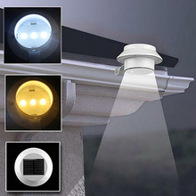 LED Solar Light Outdoor Solar Power 3 Led Light Garden Fence Yard Wall Gutter Pathway Lamp FEN#