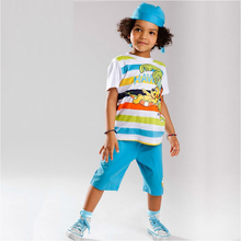 boys clothes 6 years kids online shop clothing toddler boys summer clothes boy summer sets children cartoon bule suit 3pcs(China)
