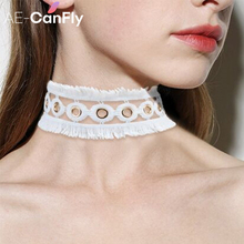 White Lace Knitted Necklace Circle Links Tassel Fringe Choker Necklace Women Collars Jewelry NX022