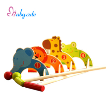 Cute Animal Gate Ball Mini Golf Knocking Toy Outdoor Sports Interactive Games Harmless Wooden Baby Early Education Toys