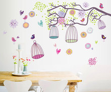 Colorful bird Cage Morning of Bohemia ZOO For Kids Baby Room DIY Wall Sticker Living Room Background Wallpaper Decor Decal AY993(China)