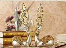 16x7x32cm Environmental resin Europe sika deers one pair arts craft,Office furnishings home desk decoration business gift a2419(China)