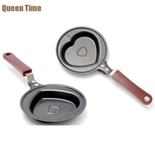 QueenTime Heat Shape Grill Pans For Fried Egg Cast Iron With Long Handle Frying Pan Mini Skillets Cooking Pot Kitchen Cookware(China)