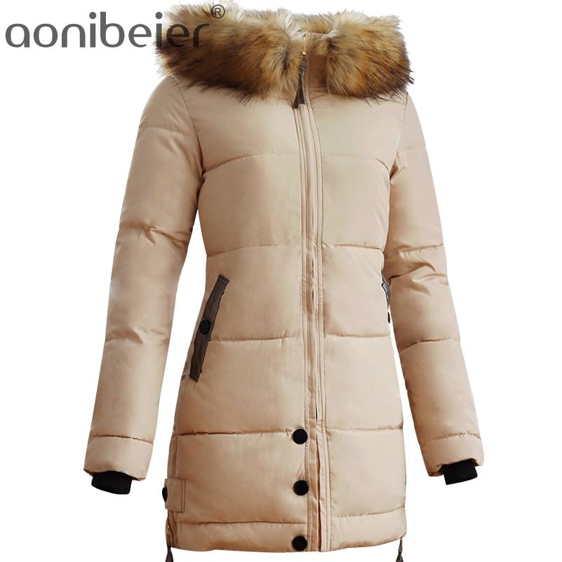 Aonibeier Fashion Large Faux Fur Collar Women Cotton Padded Jacket Warm Hooded Zipper Coat Slim Long Parkas Button Outwear CoatÎäåæäà è àêñåññóàðû<br><br>
