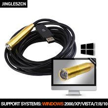 JINGLESZCN USB Endoscope 14.5MM Lens Mini Camera 5M Inspection Cmos Waterproof IP67 Borescope Windows 4 LED Snake Video Endoskop