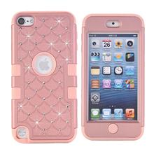 Diamonds Rhinestone Cases For Apple iPod Touch 6 Case Silicone & PC Hard Back Cover iPod Touch 5 Case Armor Shockproof 3 in 1