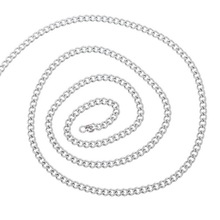 For DIY Mens Cool Necklace 2M Silver Tone Stainless Steel Cuban Curb Link Chain 4x3mm(China)