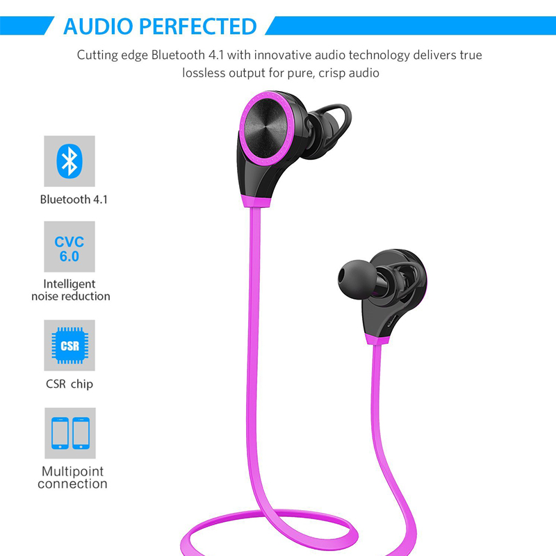 OARIE Bluetooth Earphone Wireless Sports Headphones Waterproof Sweatproof with Mic Noise Cancelling for Running Gym<br>
